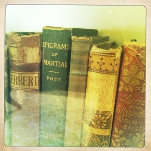 Books from the Frost household. Somebody else liked epigrams too!