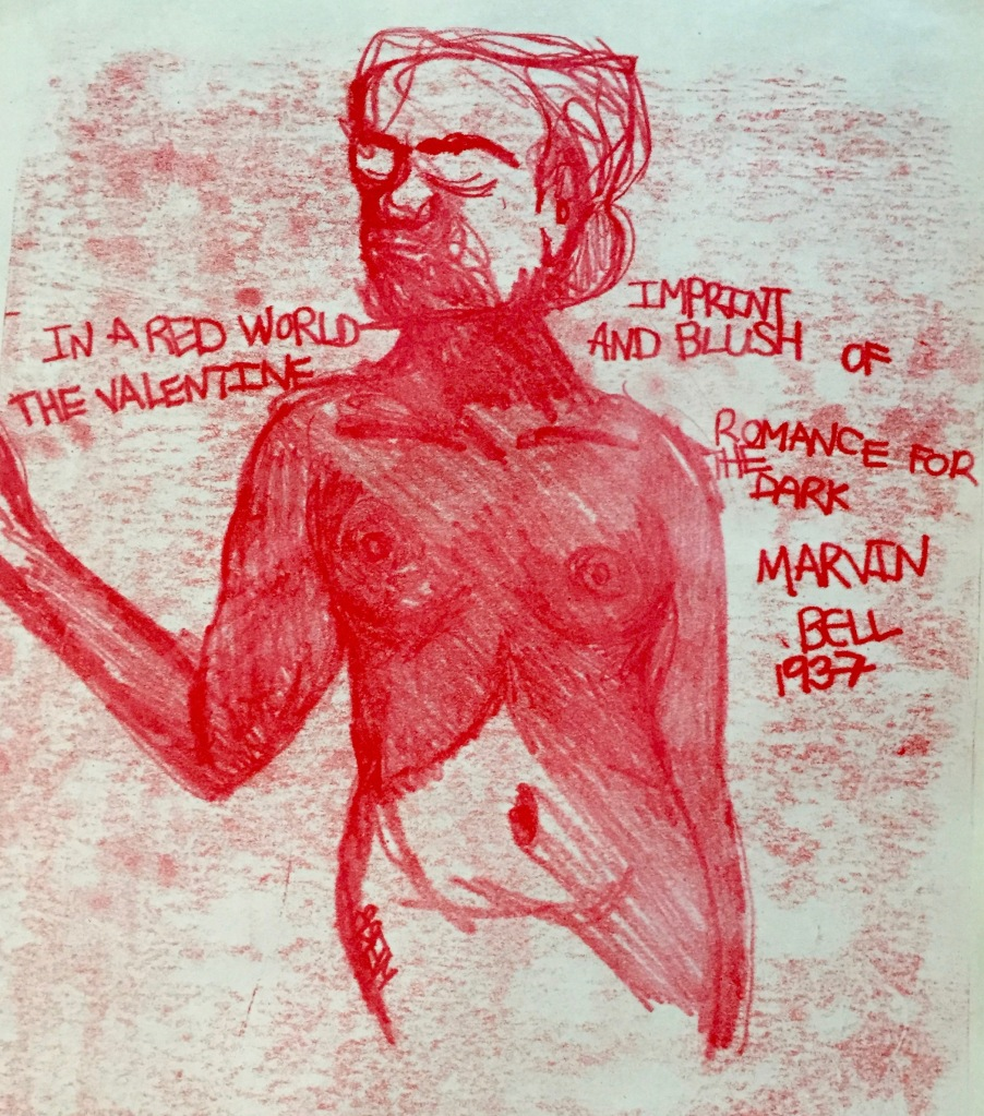red monoprint of nude woman with poem by Marvin Bell