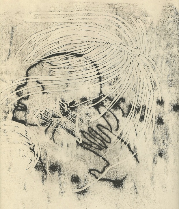Monoprint of layered patterns and the silhouette of a woman, black ink on newsprint