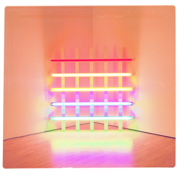 square photograph of a neon light sculpture by Dan Flavin. There are a series of parallel neon tubes, each a different color