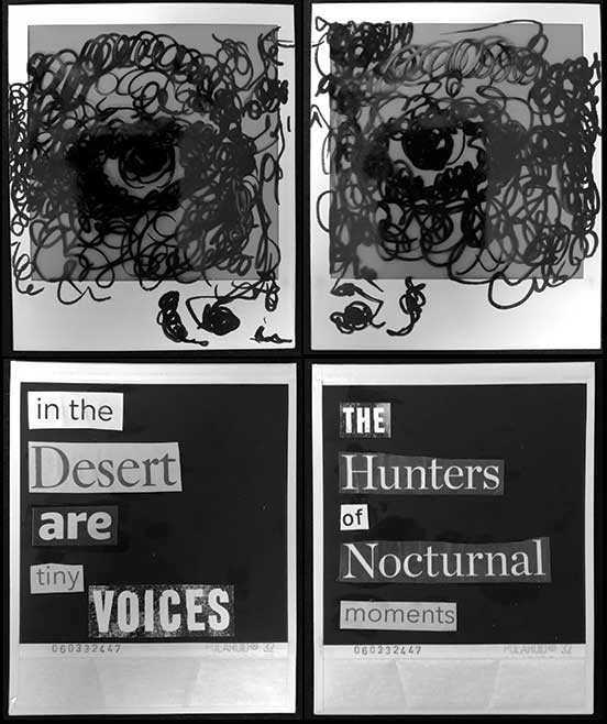 four black and white polaroids, two drawn with partial faces, two with collage of poem