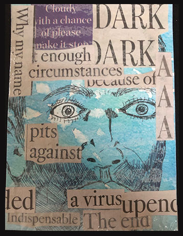 rectangular card with ink drawing of man's face and collage of recent newspaper headlines