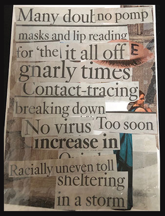 rectangular card with collage of recent newspaper headlines about coronavirus