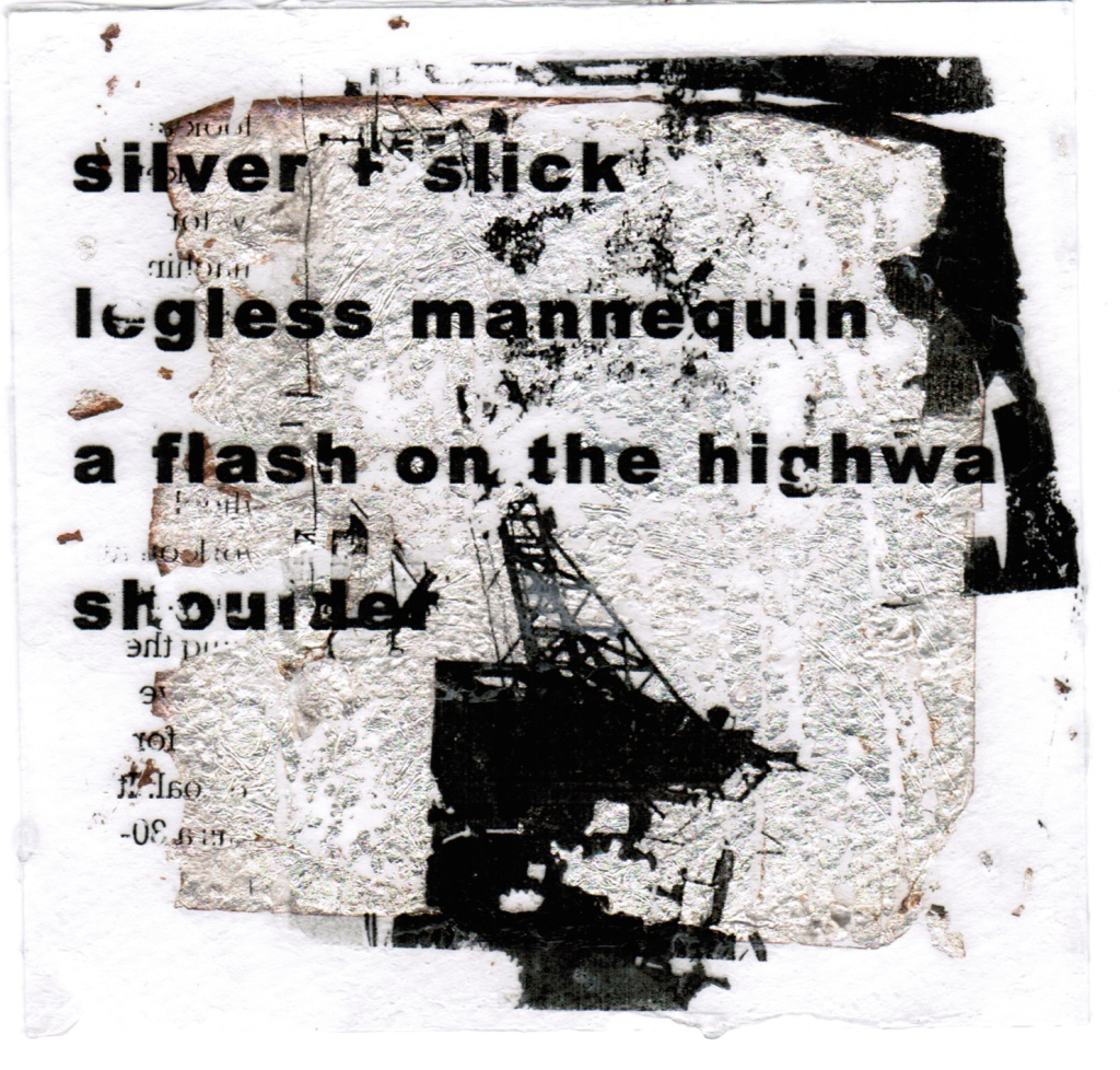black and white and silver reverse transfer image with haiku