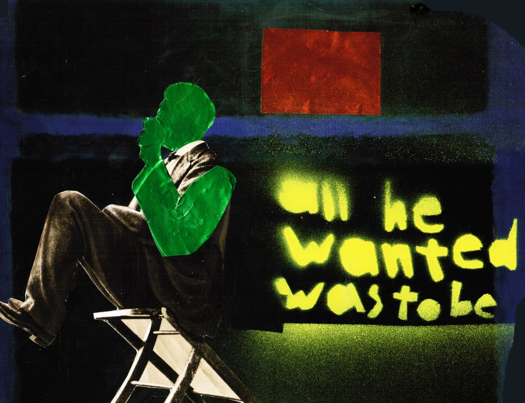 "collage of man sitting in chair with ""all he wanted was to be"" spray painted in yellow"