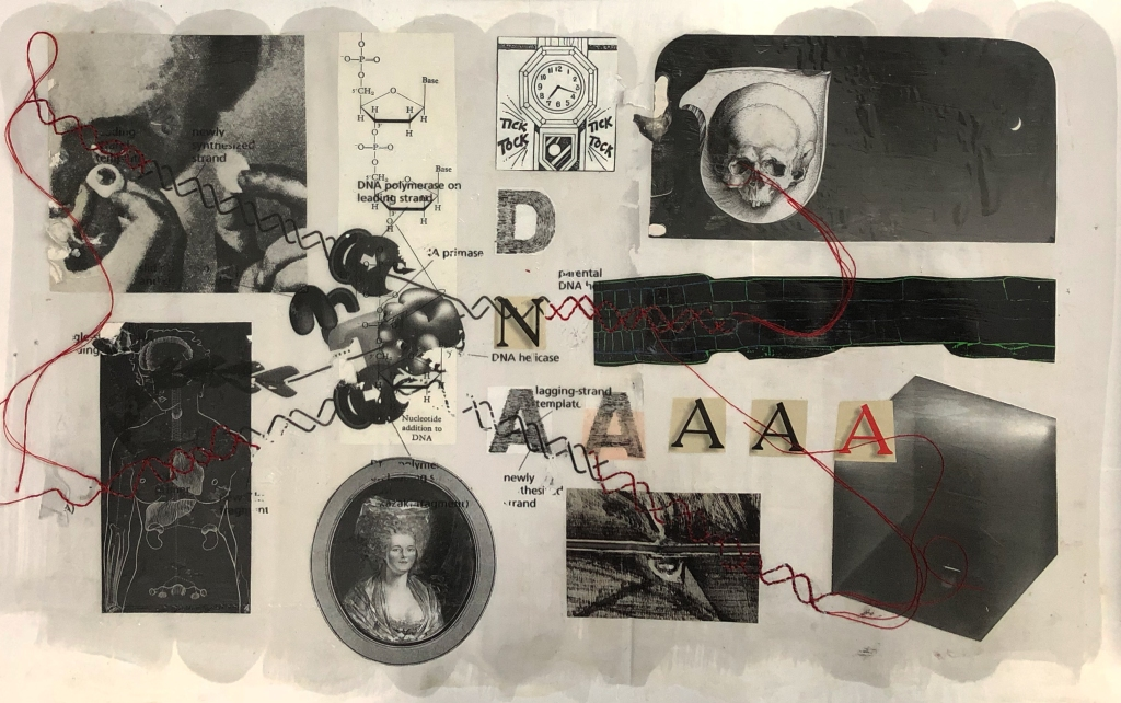 collage of black and white science illustrations and shapes with DNA polymerase overlay and red DNA stitching