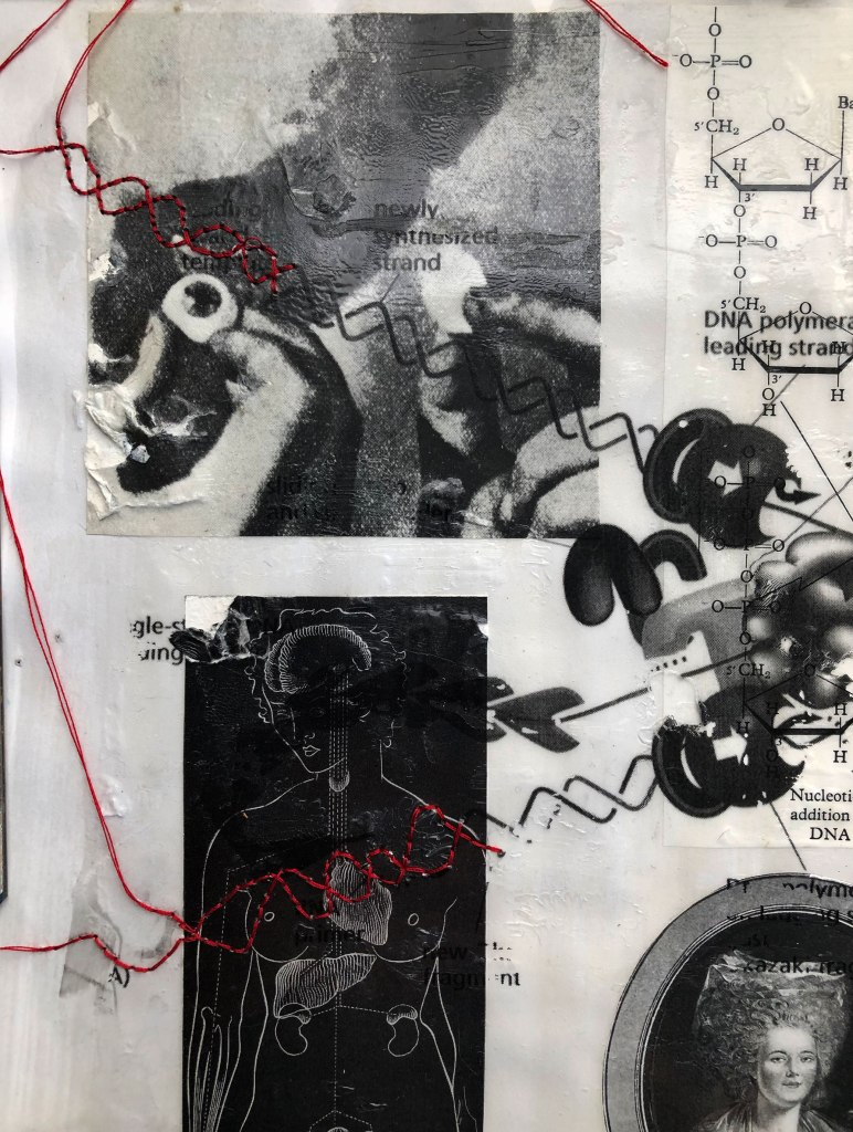 Closeup of black and white DNA machine collage showing detail