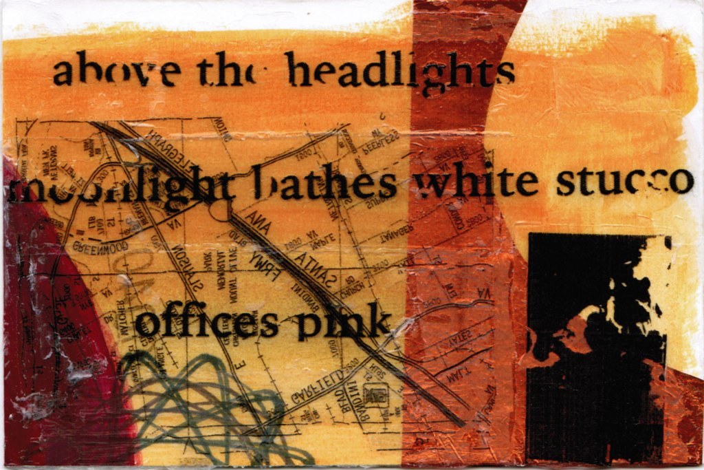 Orange hued collage with the words of the haiku overlaid in patchy black ink