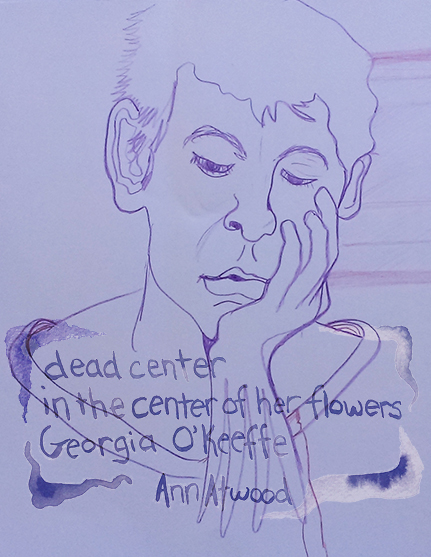 "Digital collage - purple paper with line drawing of woman and overlay of ""dead center"" haiku"