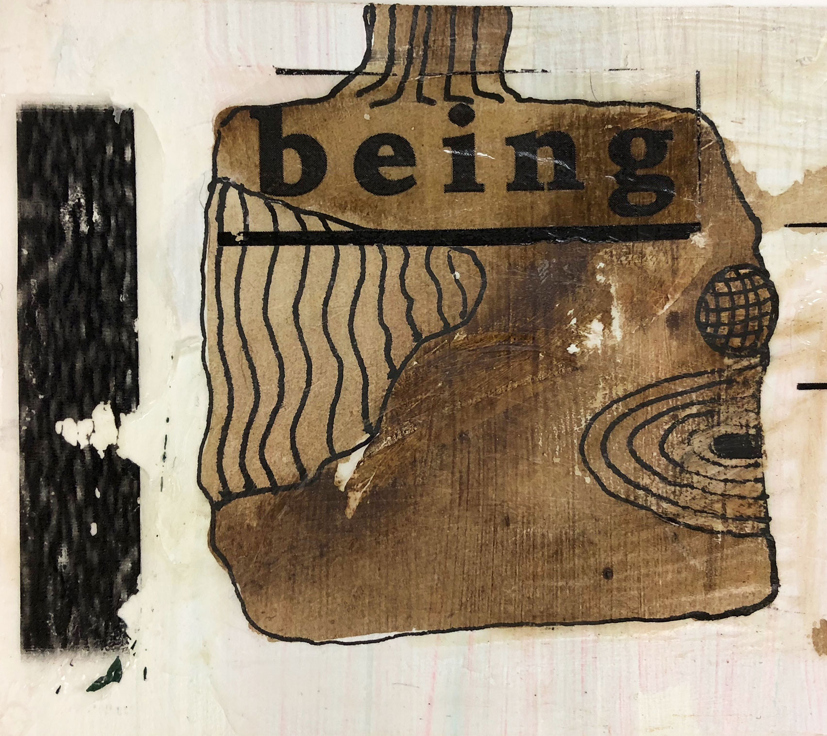 "brown ink wash square with black outline face and word ""Being"""