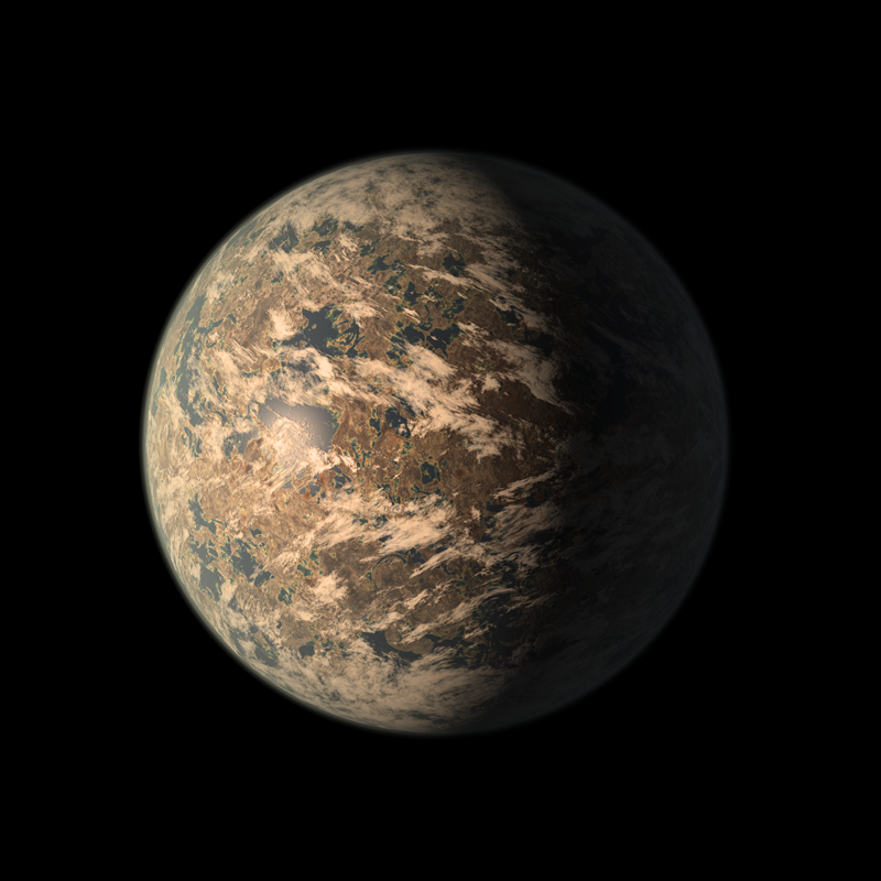Artist rendering from wikipedia of the Trappist 1e exoplanet