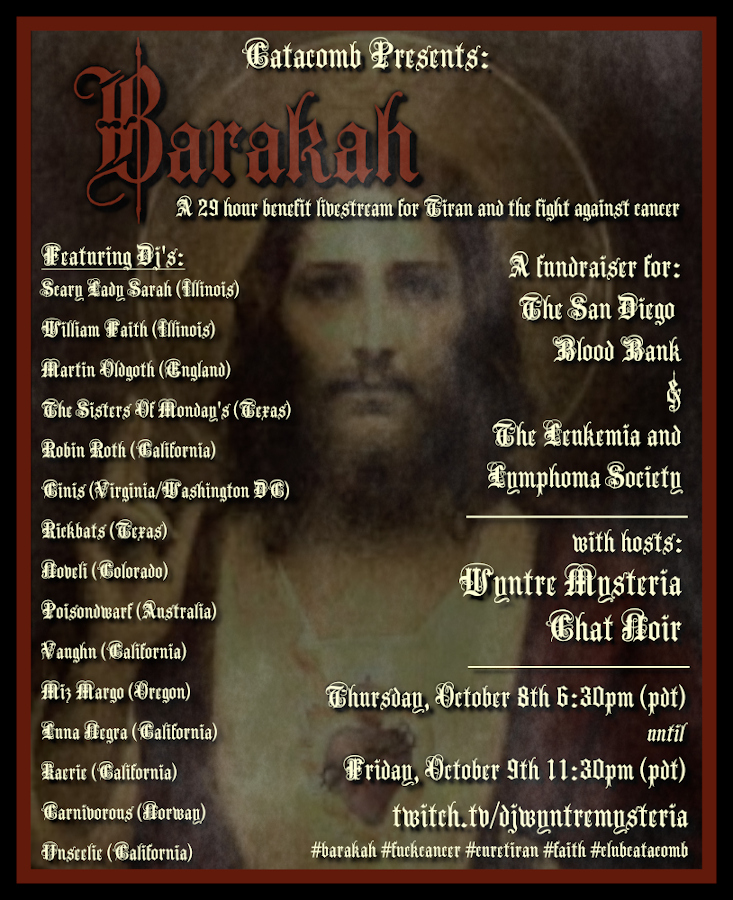 poster for benefit livestream of gothic and industrial music called Barakah