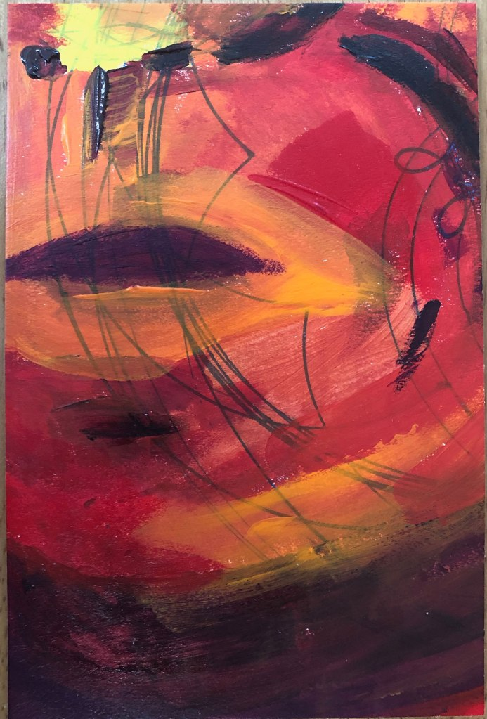 acrylic painting in red, orange, and purple hues of a mouth and chin