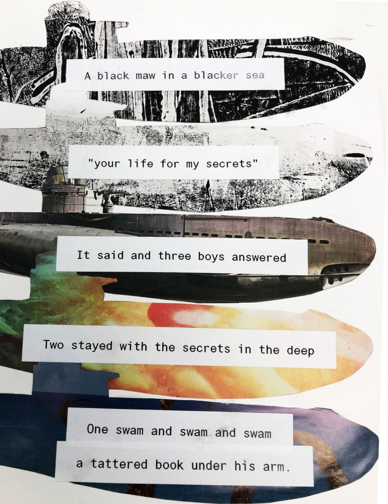 collage of 5 u-boat shapes with labels overlaid with poem text