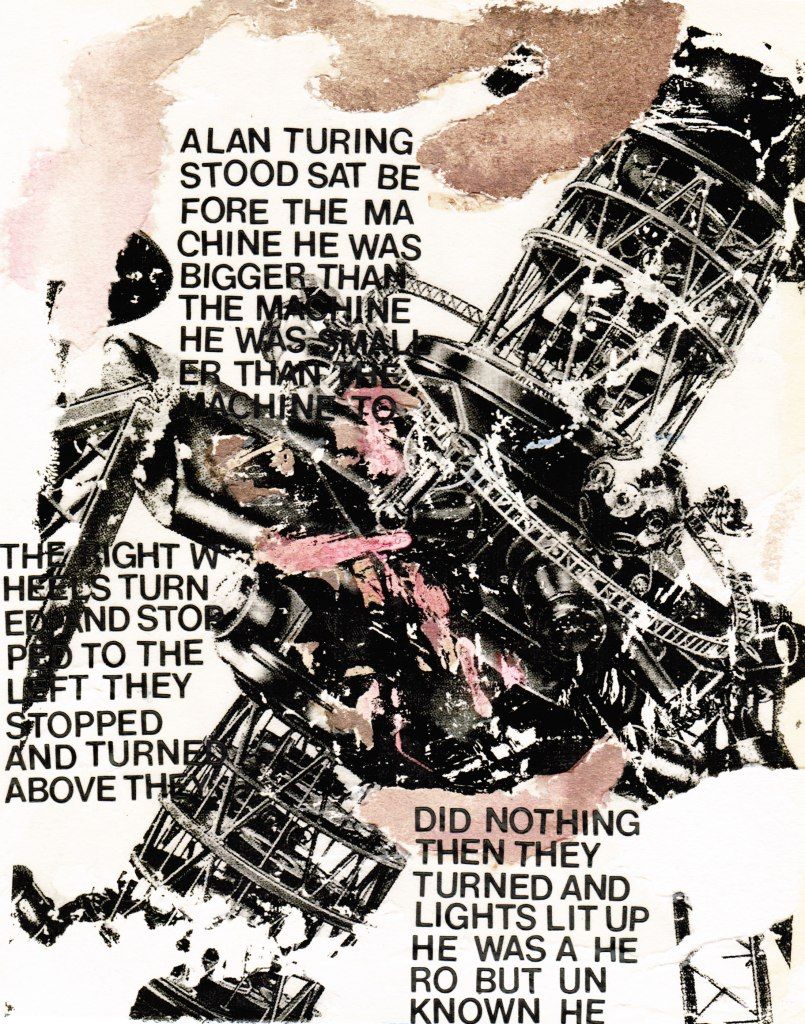 "black and white and brown collage of a large machine overlaid with the words of M Lewis Redford's poem ""castrated"""
