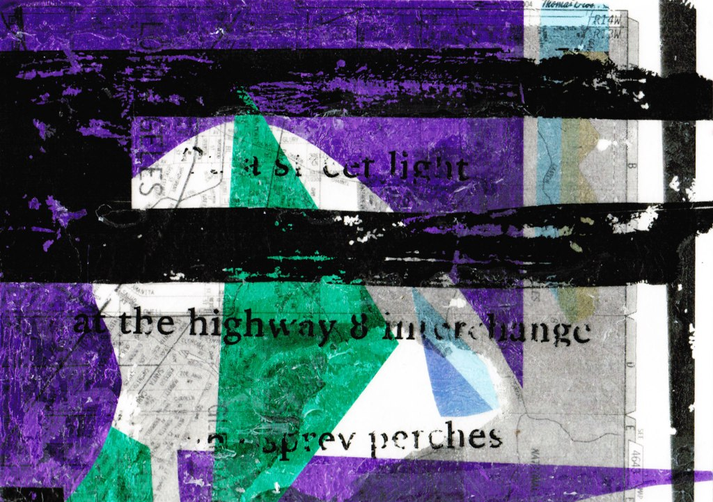 Purple, green, and black multi-layer collage overlaid with haiku