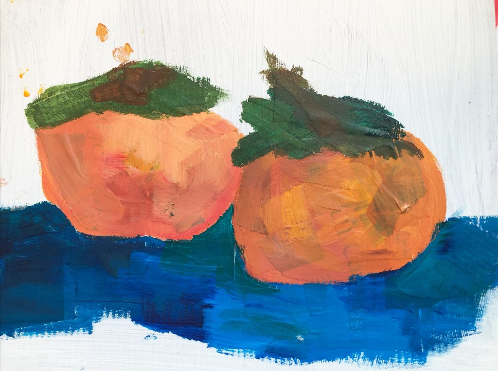 abstract acrylic painting of two persimmons over strips of newprint