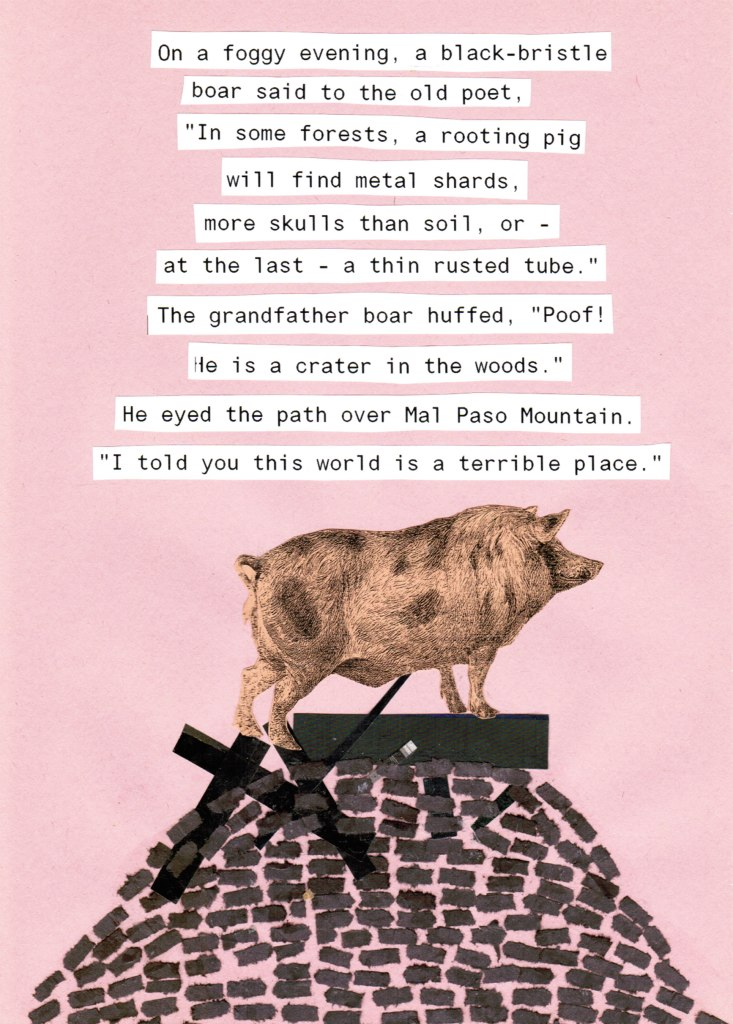 collage on pink paper with orange pig standing on a pile of black torn paper with overlaid poem