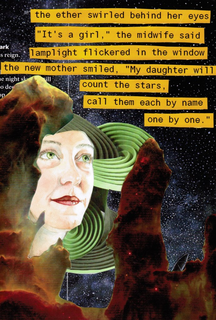 Collage of stars and star formations layered with an older woman's face and the words to the poem