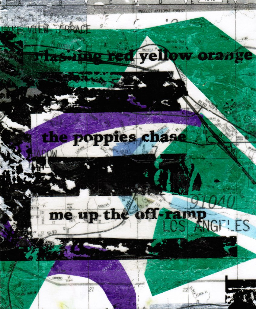 abstract collage with green, black, and purple shapes overlaid with words of haiku