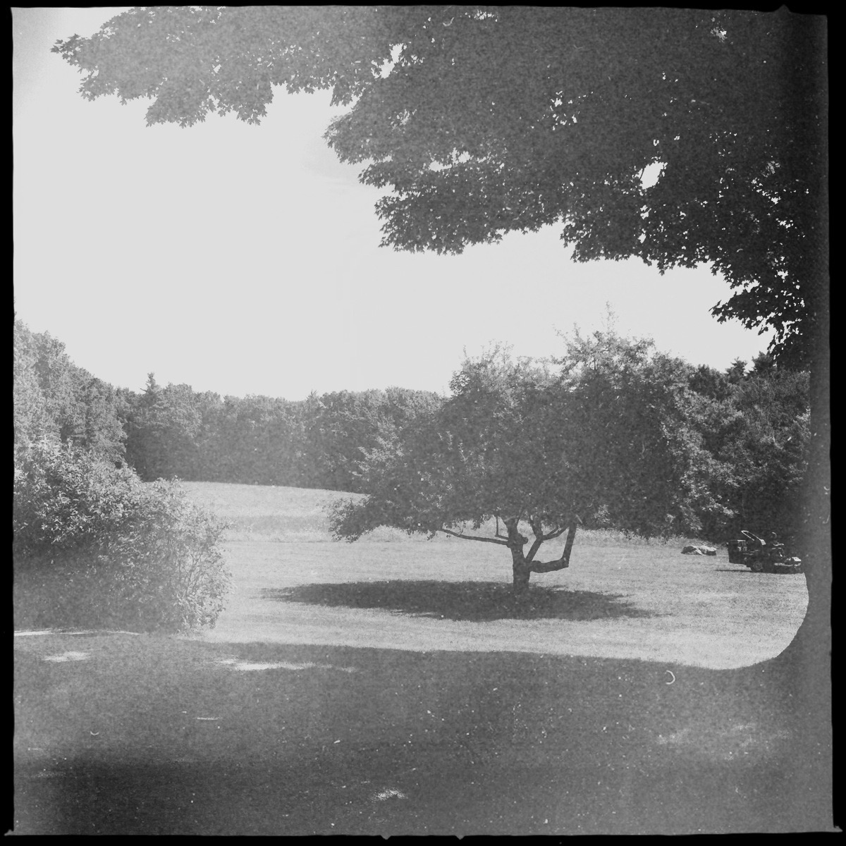 Black and white photograph of the view from the Frost farmhouse