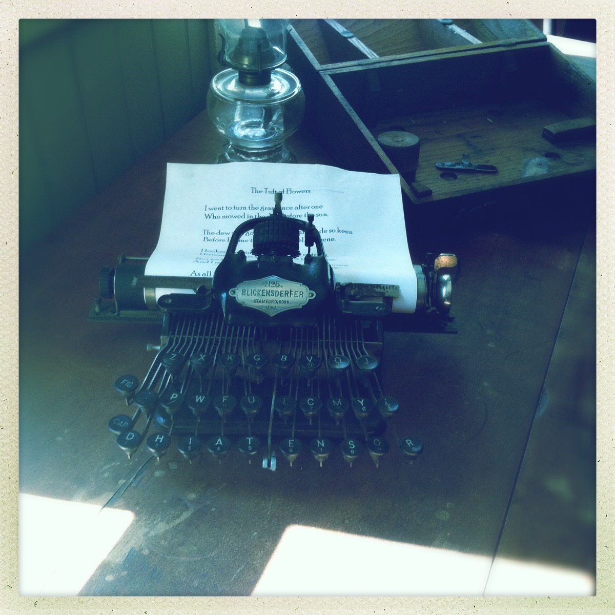 antique typewriter in the Frost farmhouse
