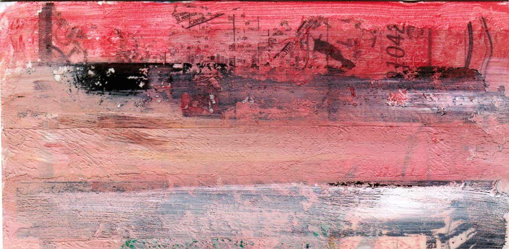 abstract artwork, paint over collage in red and pink stripes