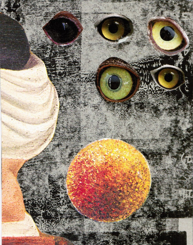 collage of bird eyes with orange orb and abstract form