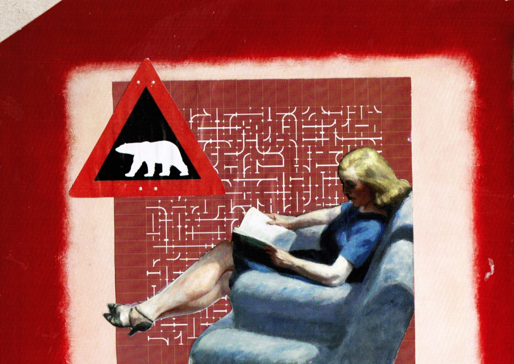 collage in red hues with a lady reading in a chair and a polar bear crossing sign